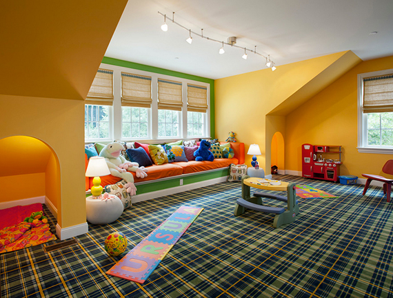 Fun plaid carpeting in kids' playroom | Ty Pennington