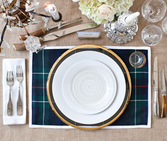Plaid placemat for winter table decor | Ty Pennington