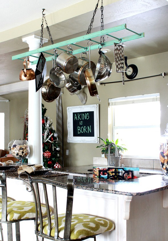 Repurpose an old ladder to hang kitchen pots and pans | Ty Pennington