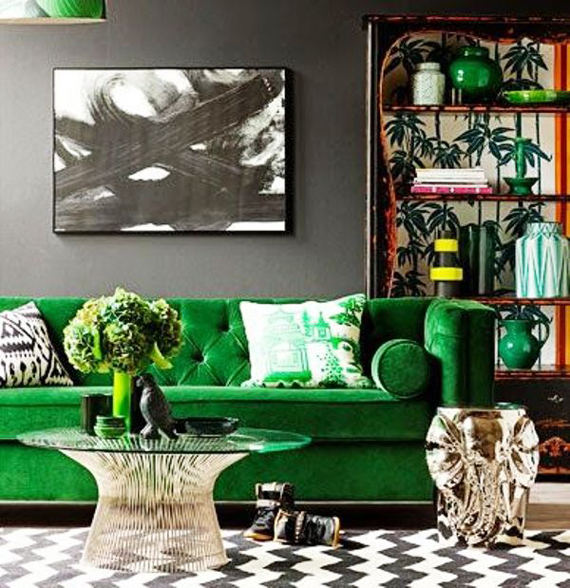 Emerald sofa | Go Green: St. Patty's Day Design