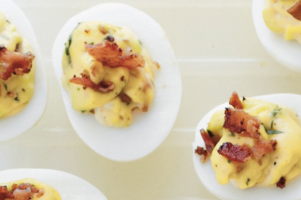Rebecca Lang's Bacon and Jalapeño Deviled Eggs #recipes