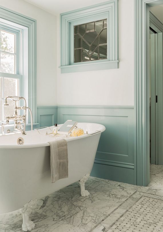 Waiscoting and molding | 5 elements of an inviting bathroom by Ty Pennington