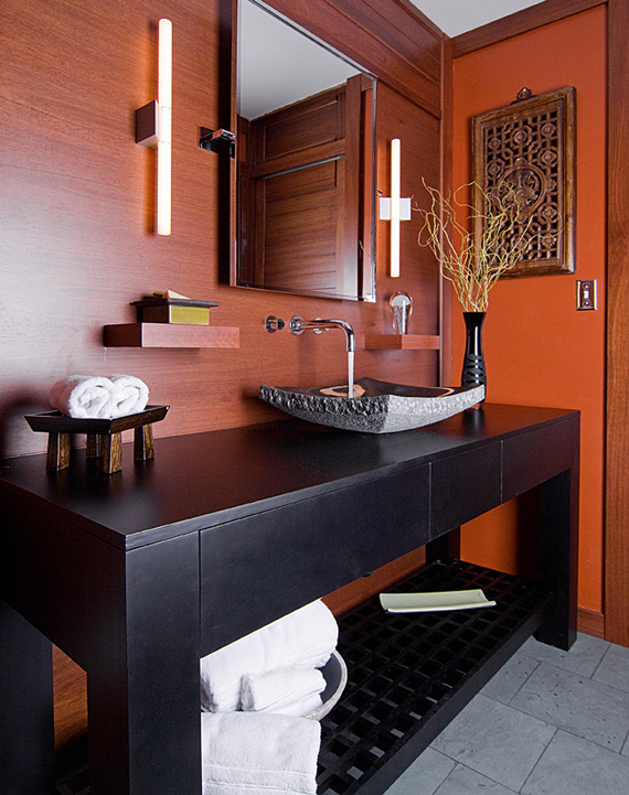 Rich, warm color | 5 elements of an inviting bathroom by Ty Pennington