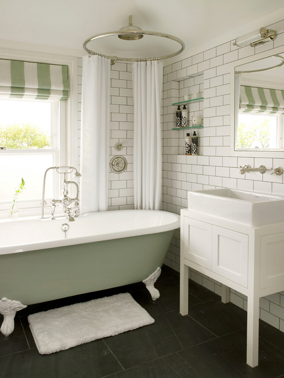 Soft and welcoming touches like this piles of towels, comfy rugs, draperies, etc. around your bathroom will evoke a calming feeling | 5 elements of an inviting bathroom by Ty Pennington